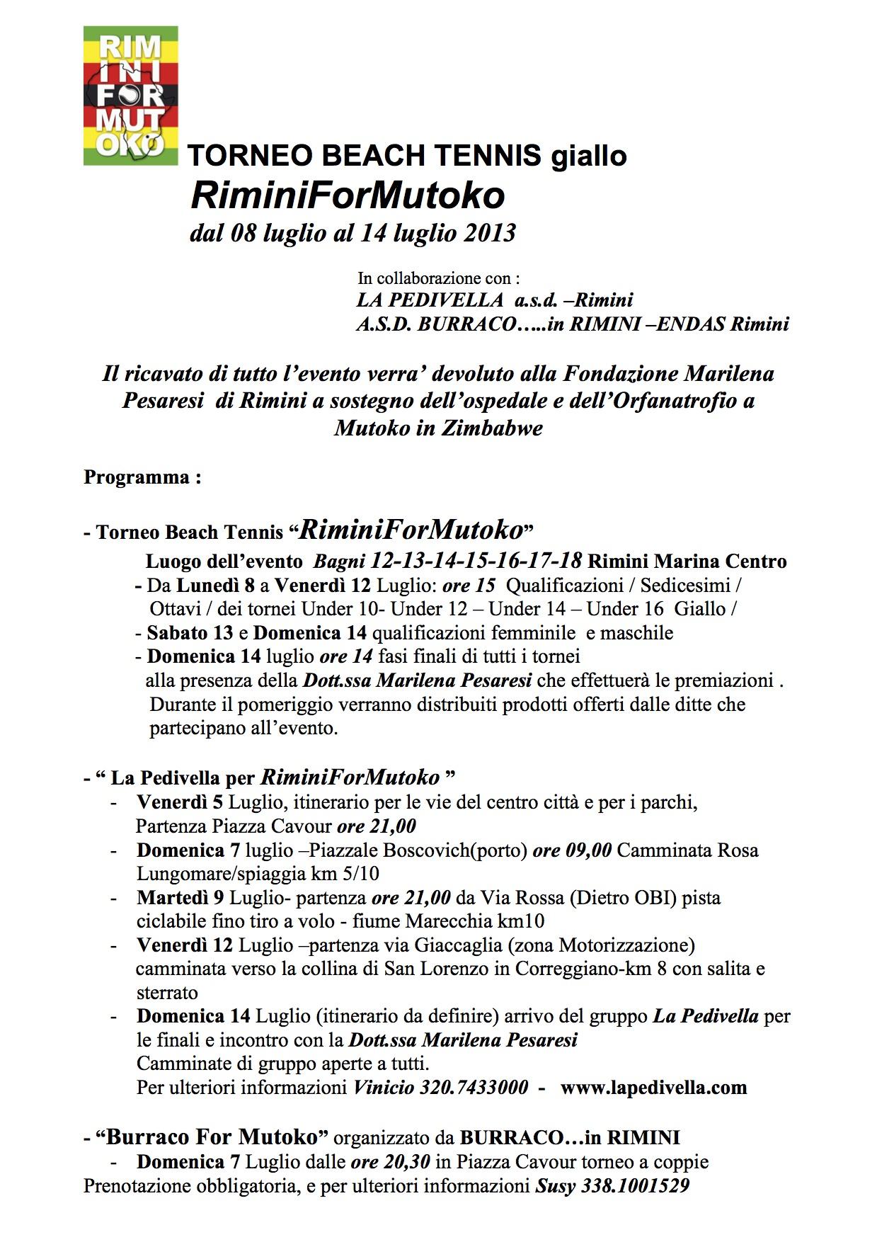 TORNEO BEACH TENNIS RIMINI For MUTOKO